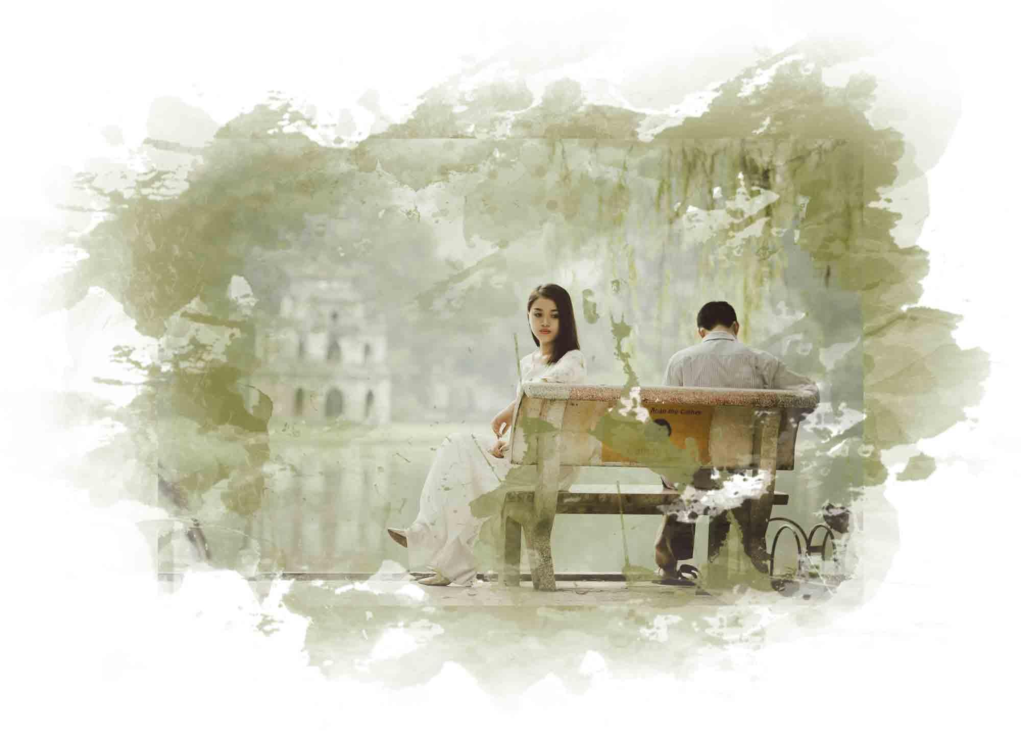 Relatie redden, koppel op bankje ongelukkig in de liefde